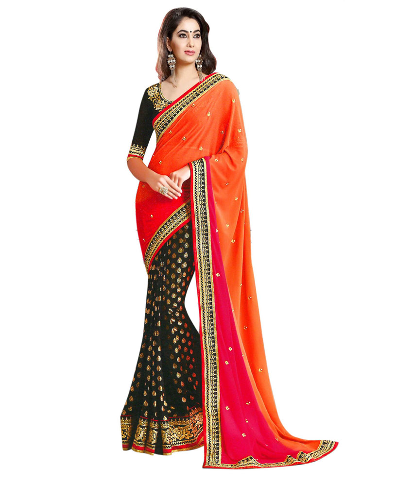 uttam vastra georgette orange and black lace patti saree