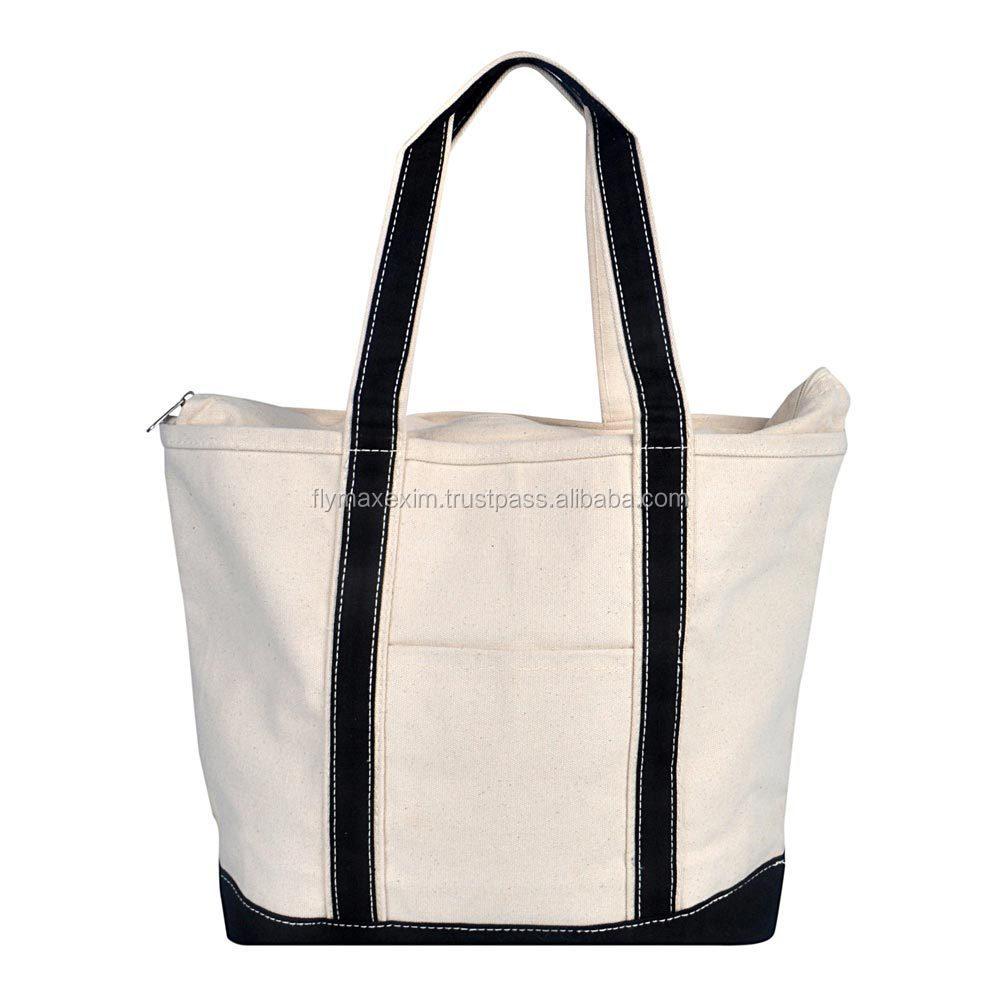 Stripe Canvas Beach Tote Bag/ Wholesale Canvas Bag/ Plain White ...
