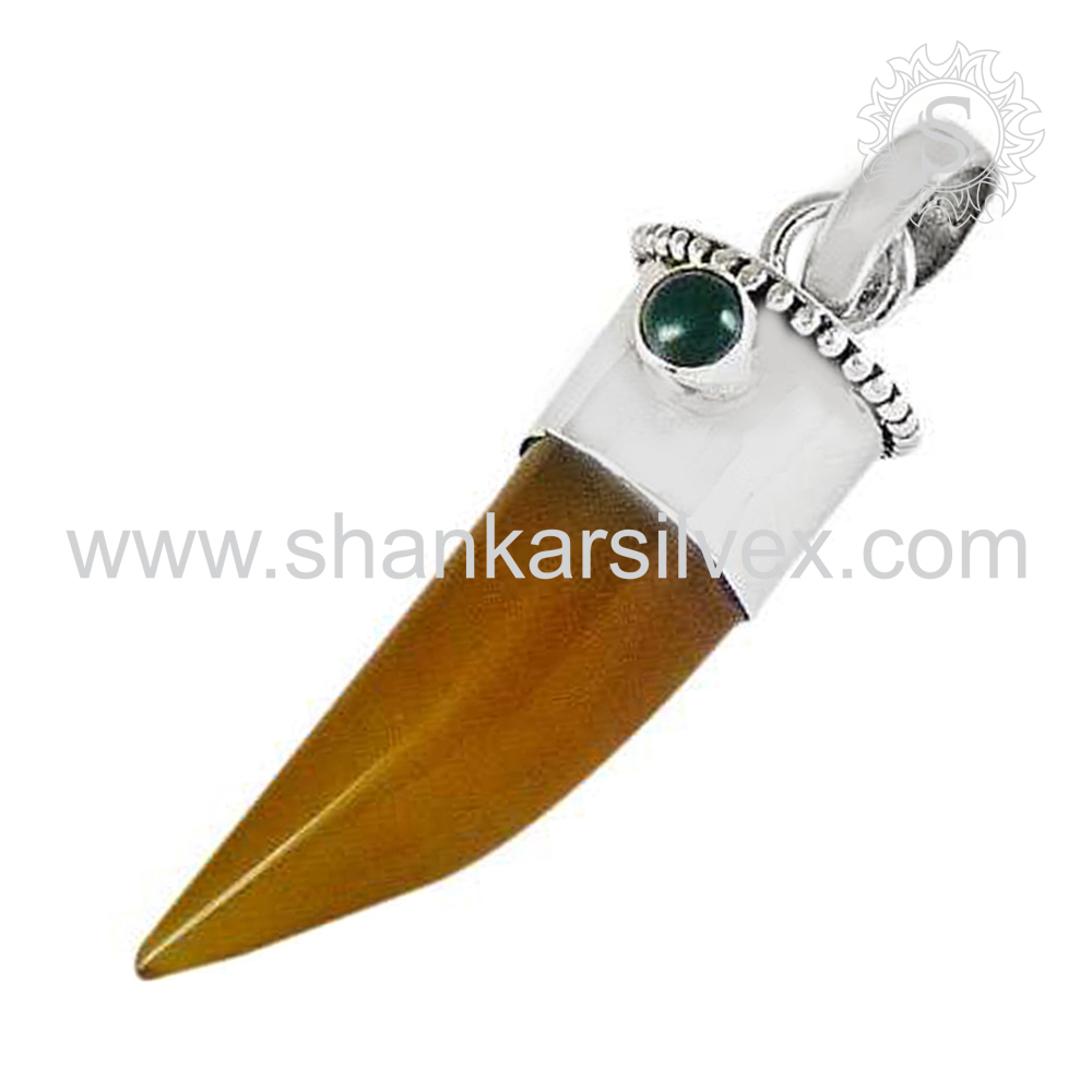 Knife Looking Gemstone Jewelry Pendant 925 Silver Jewelry Exporter Indian Silver Jewelry