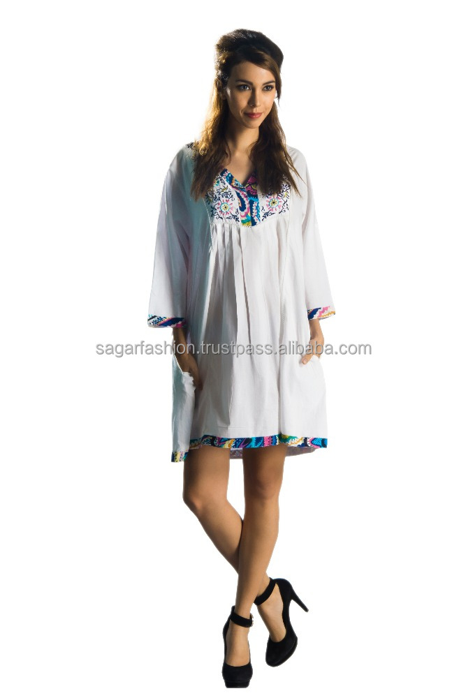 Trust Womens V-Neck Embroidered Tunic