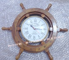 Home Decor Wooden Ship Wheel Clock/vintage marine wall clock