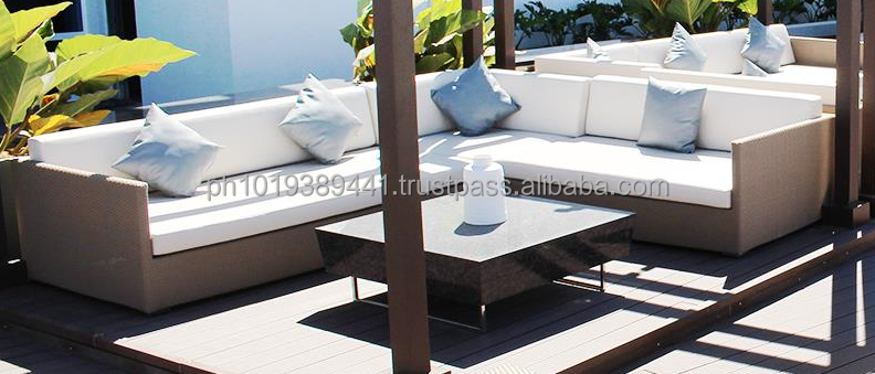 L-Shape synthetic rattan sofa with pillows