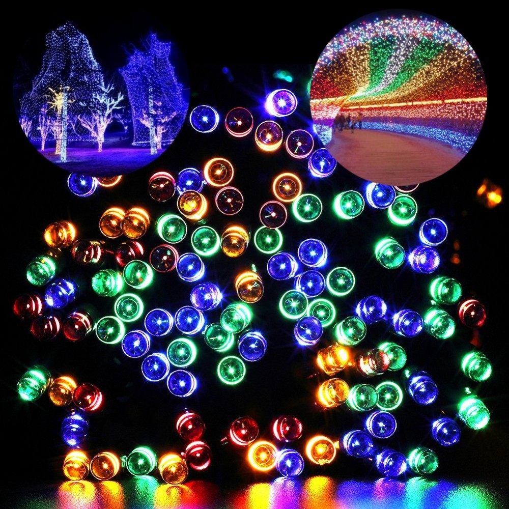 200 led solar light chain three color solar fairy lights string 200 led solar light chain three color solar fairy lights string trees christmas party garden outdoor aloadofball Image collections