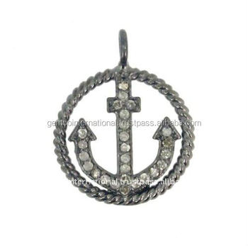 925 sterling silver pave diamond anchor charm twisted pendant 925 sterling silver pave diamond anchor charm twisted pendant jewelry wholesale aloadofball Gallery