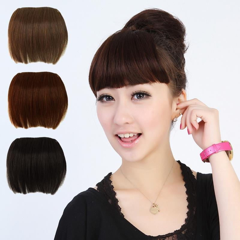 Short Straight Front Neat Bangs Clip In Clip On Bang Fringe Hair