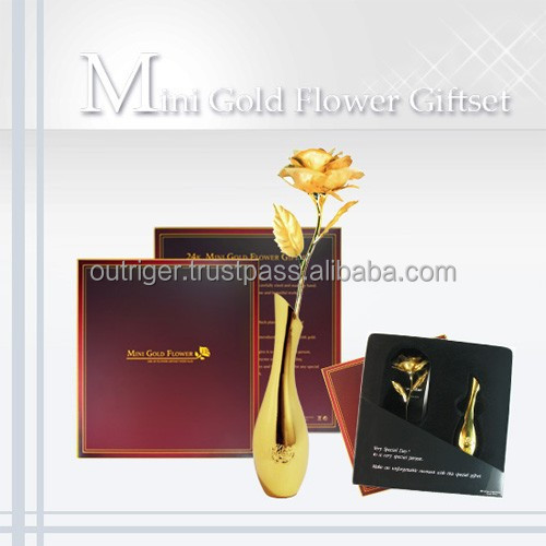 Mini Gold Rose Giftset with gold-plated metal vase / unique gift