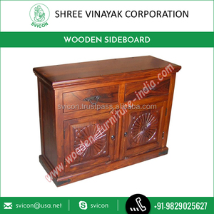 Sheesham Wood High Grade Sideboard with Carved Designs for Elegant Look