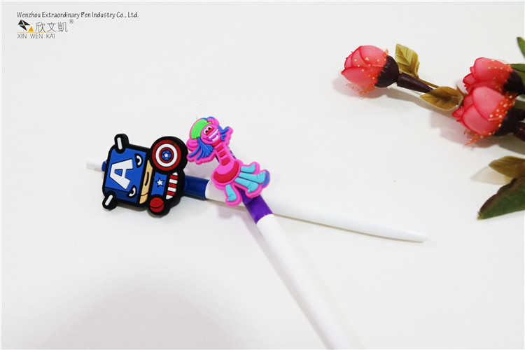 Very popular promotional thin ballpoint pen with cute cartoon PVC clip
