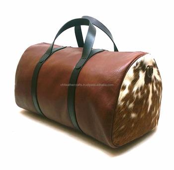 114b4d59be Cow Hair-on Weekender Duffel - Holdall - Gym Bag - Buy Vintage ...