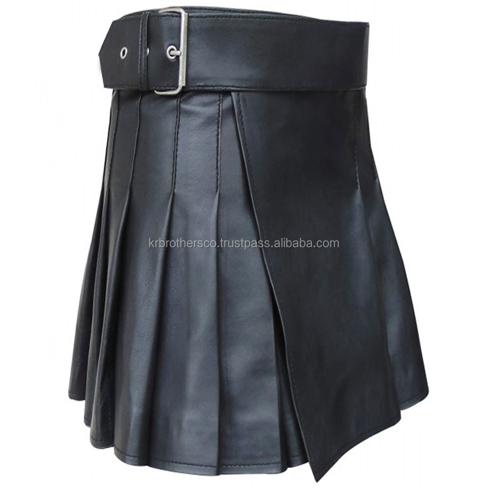 Black leather kilt with adjustable belt