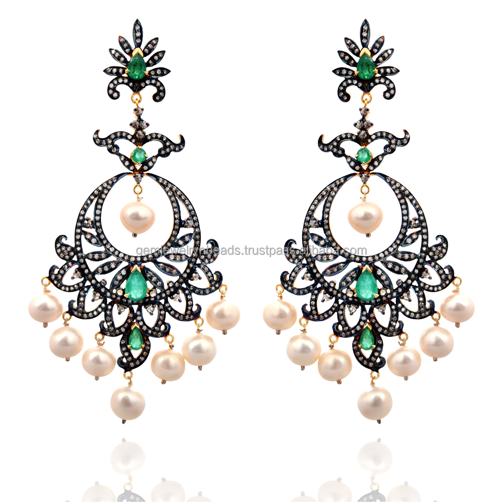 14k Yellow Gold Emerald & Pearl Gemstone 925 Sterling Silver Pave Diamond Handmade Design Gemstone Chandelier Earring Supplier