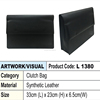 Men black synthetic leather clutch bag