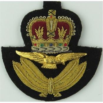 Bullion Wire Raf Cap Badge Hand Made King Crown Cap Badge Military Cap  Badge - Buy Hand Embroidered Bullion Badges,Embroidered Bullion Wire Blazer