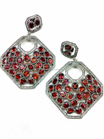 Beautiful rhodium plated semi-precious red garnet victorian 925 sterling silver latest earring designs