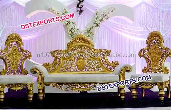 Wedding Stani Stage Furniture Golden Carved Sofa Set Indian Manufacturer