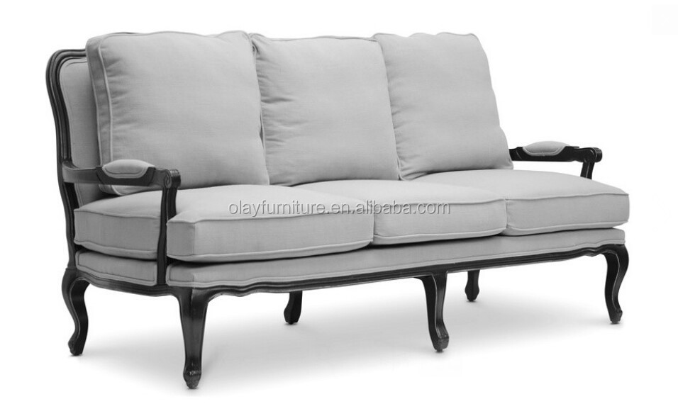 European Style Wooden Fabric Sofa Studio Classic Antique French Sofa