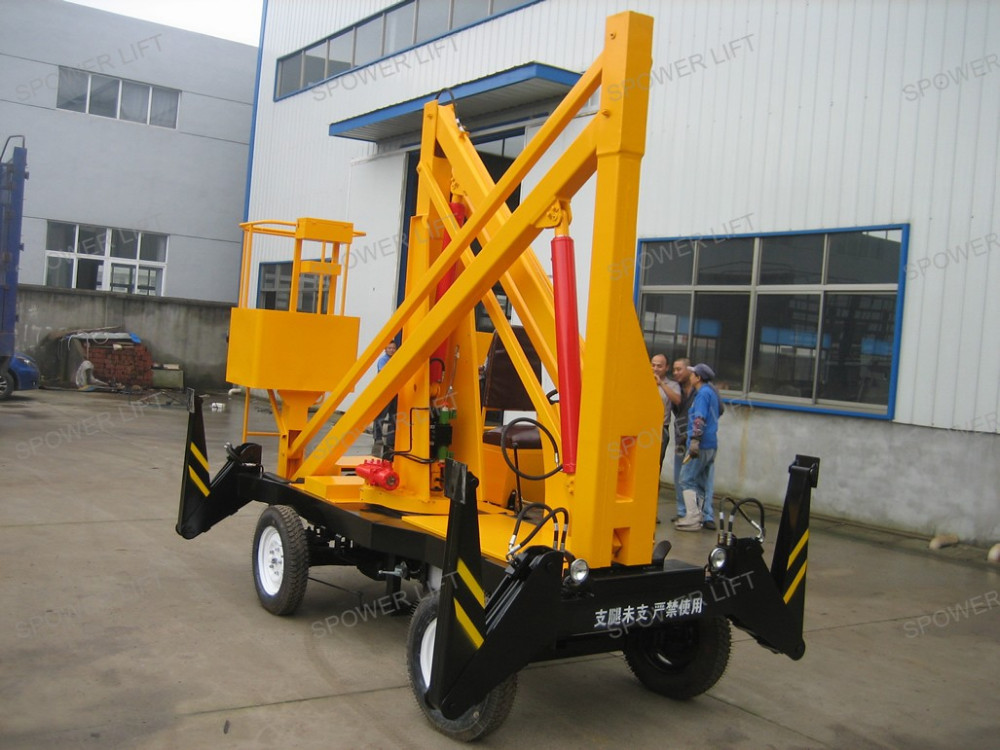 Small Boom Lift : Cherry picker articulated small trailer boom towable lifts