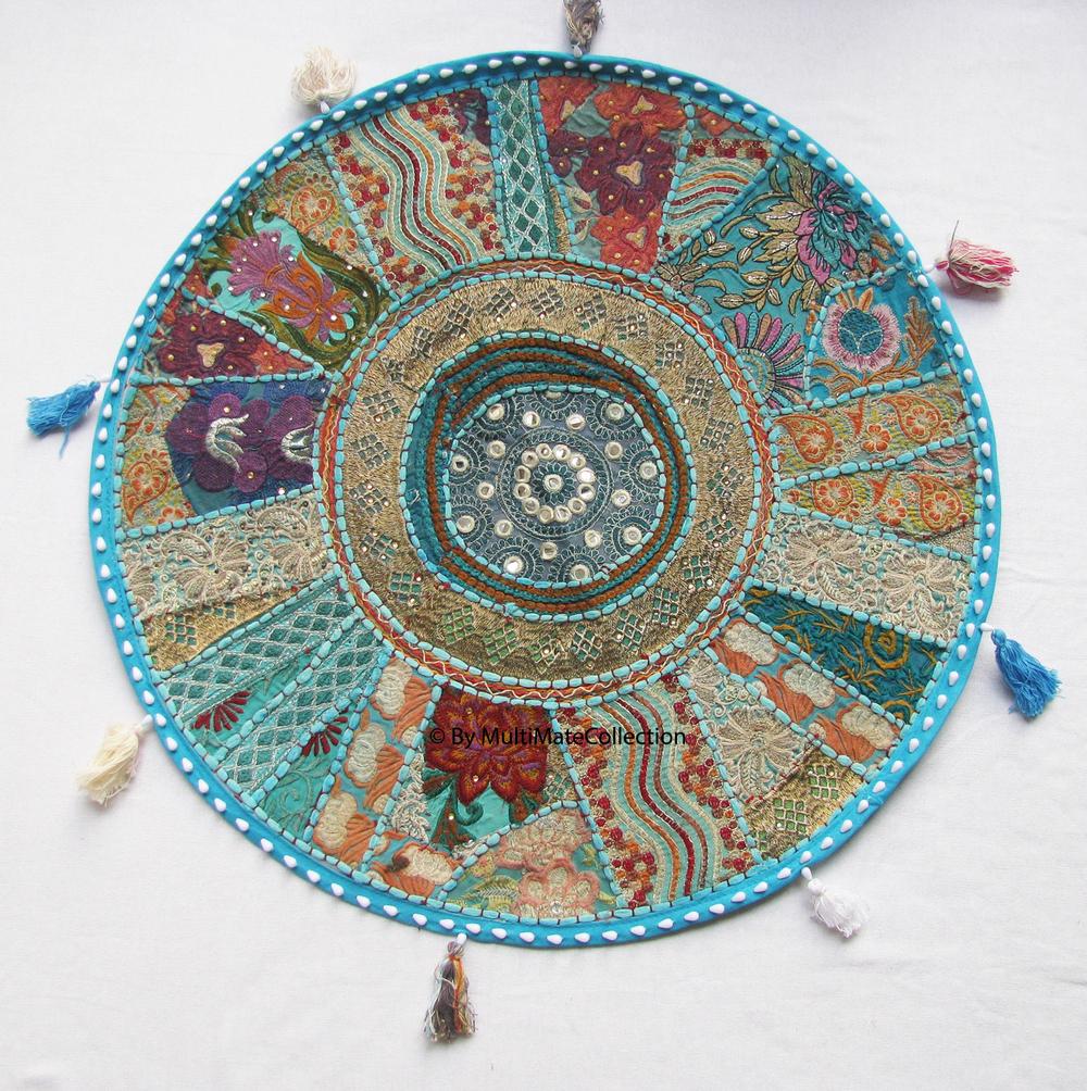Indian Ethnic Bohmian Round Floor Pillow Floor Seating Cushions ...