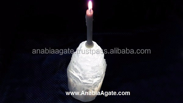 Selenite Big Size Lamp + Candle Holder : Crystal Candle Holder : Selenite Lamp