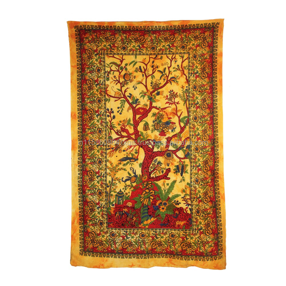 Story of Tree Tapestry Mandala Wall Hanging Single Yellow Bedspread Home Decor