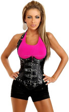 Sexy Black Gothic Buckle Faux Leather Halter Lace Up Underbust Corset Bustier
