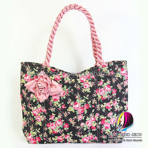 Handbags Vintage Fl Tote Bags With Front Rose Ribbon And Twisted Fabric Handle Cloth