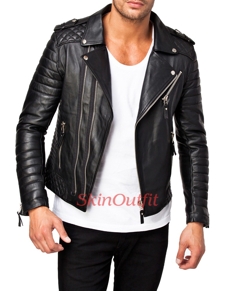 Men Real Sheep Brown Mens Leather Jacket