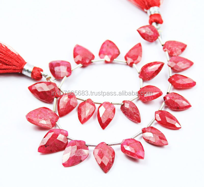 Natural Red Faceted Shield Shape Drops Briolette Ruby Beads