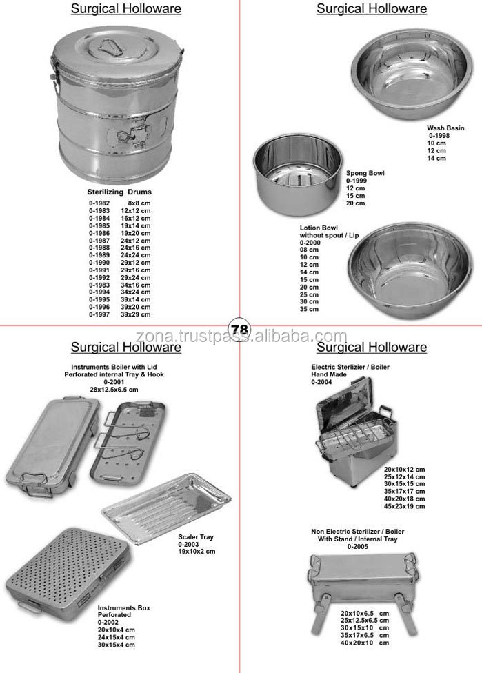 Top Quality Surgical Holloware / Stainless Steel Surgical Sterilizing Drums / Stainless Steel Bowls