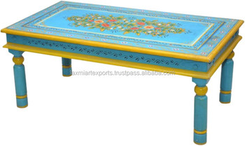 Indian Handpainted Coffee Table Colourful Look Round Leg Thakhat Style End Table  Coffee Table Manufacturer Wholesale