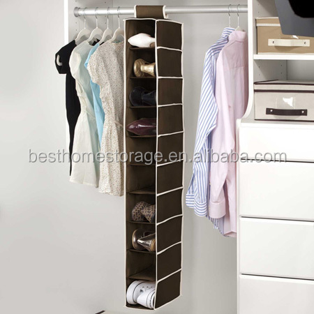 2015 New Design Fabric 10 Shelf Hanging Shoe Rack Closet Storage Organizer
