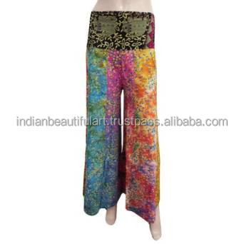 Patchwork Harem Cotton Women Wear Long Trouser Bell Bottom Multicolor Yoga Pants HRM397