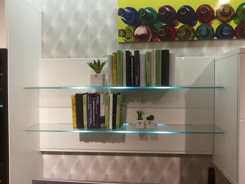 Bookcase with LED glass shelf lights / LED Wall Mounted Bar Shelf - Bar Display