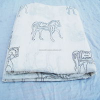 NCPCF-20 Horse Animal White Voile Indian Printed Baby Cloth/Quilting Cotton Fabric Sanganeri Wooden Block Prints Cotton Fabric