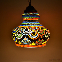 Style Stained Glass Hanging Lamp Ceiling Fixture Light