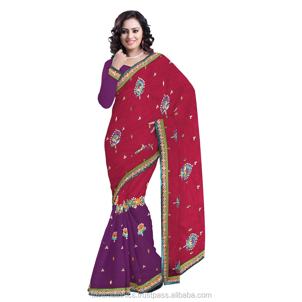 Admirable Violet Colored Embroidered Net Saree TS12298