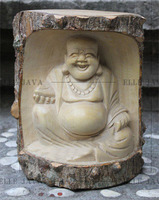 Wooden Buddha meditating statue, hand carved from crocodile wood