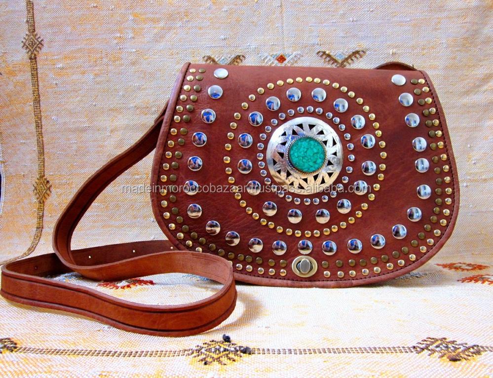 Beautiful Moroccan Handmade Tan Genuine Leather