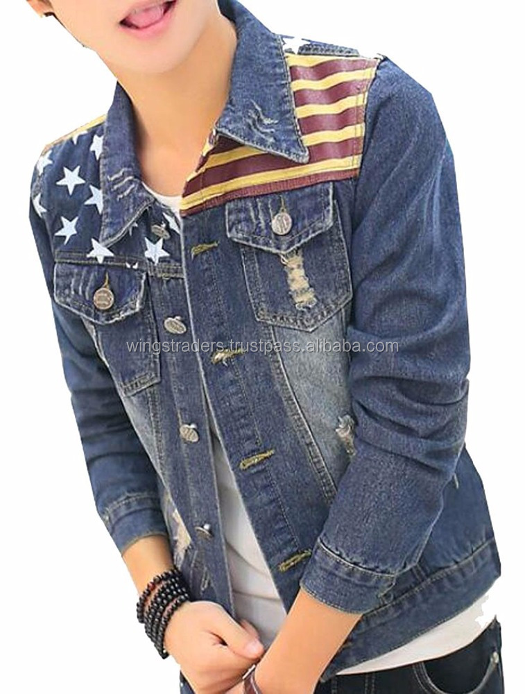 American Flag Fit Denim Jacket Coat,Feel Much Comfortable