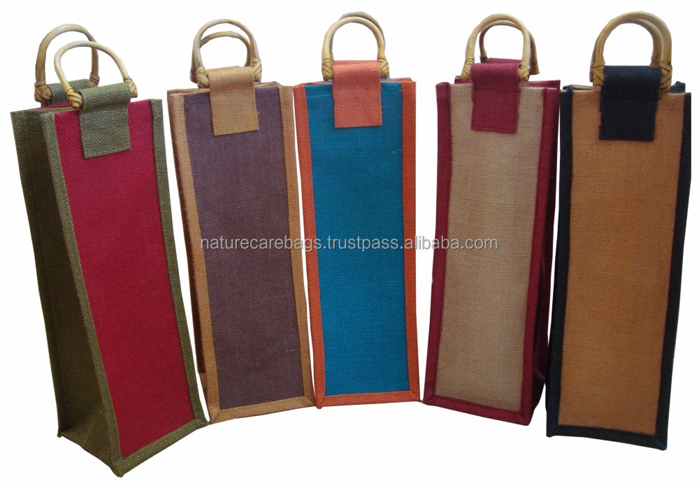 Ecological and environment friendly Custom Jute Shopping Tote Bag Jute Wine Bag