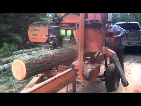 PFCC: Debarking a fir tree with the portable sawmill