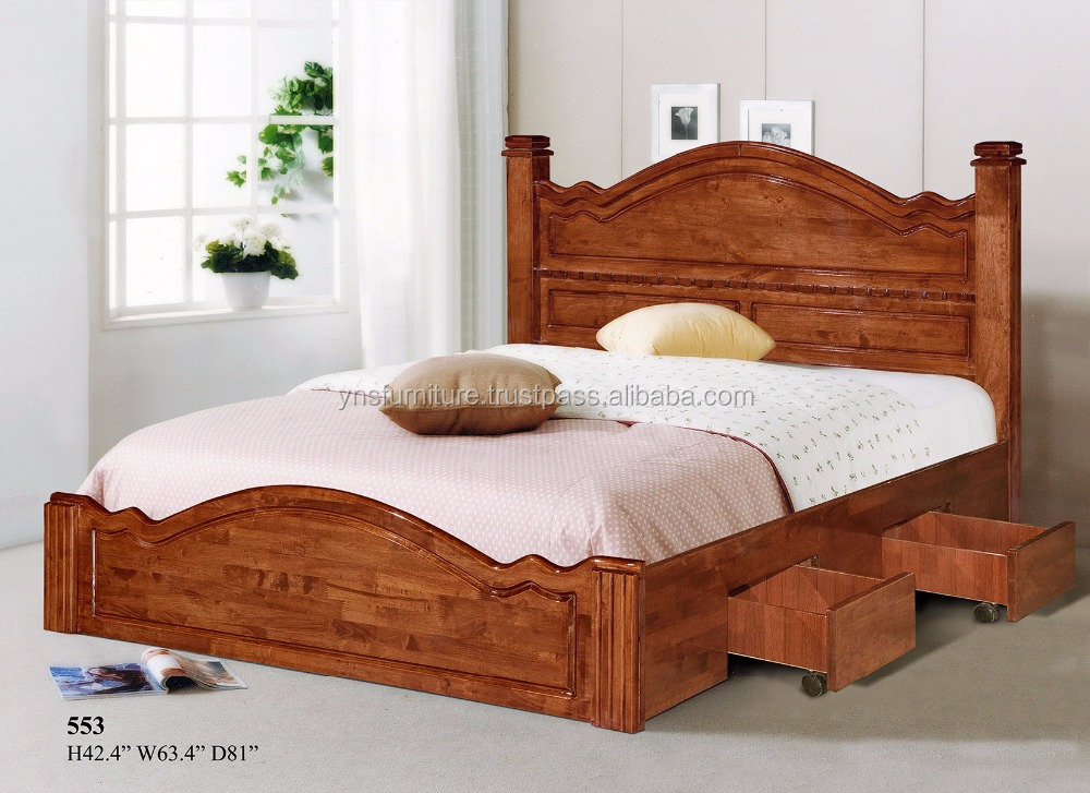 Wood Double Bed Designs With Box 553