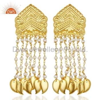 Whole South Indian Designer Chandelier Earrings Pearl Gemstone Manufacturers Of Gold Plated Br Jewelry