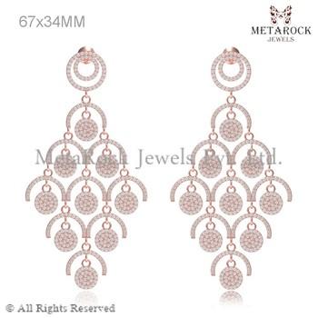 Pave Diamond Earring 14 K Rose Gold Chandelier Jhumka Link Earring ...