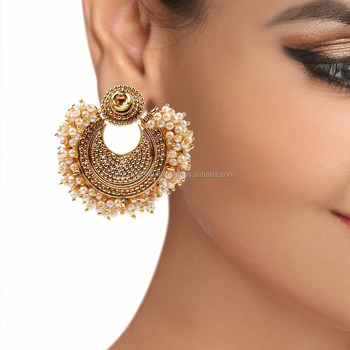 Round Traditional Pearl Beaded Heavy Wedding Wear Designer Polki Indian Party Gold Tone Finished Earrings