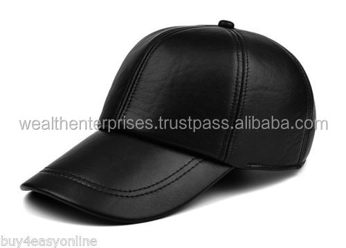 leather baseball caps - fashion black leather snapback cap with 3D Emb