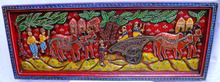 Vintage Hand Carved Wooden Wall Hanging Sculpture - India Hand Carved Wooden Wall Panel with Villager's Life