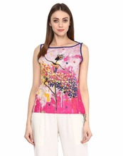 Jaipur Kurti Women's Abstract Print Pink Colour Top