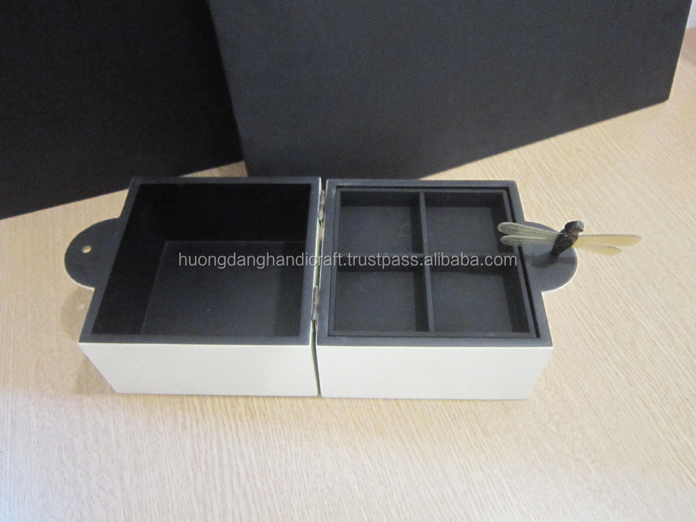 ff73b5232 Nice design white lacquer box/Vietnam handmade jewelry box with dragonfly  key