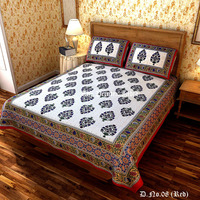100% Indian cotton mughal traditional bed cover sheet set